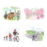 ScenicBywayに掲載されたサイクリングや乗馬している様子のイラストカット