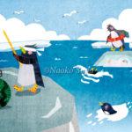 海水浴とスイカ割りを楽しむペンギン